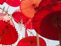 Umbrella. Red umbrellas hanging decorative Stock Photo