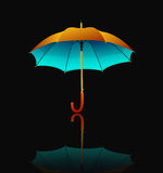 Umbrella with reflection on black background Stock Photography