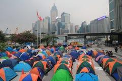 Umbrella revolution in hong kong Stock Image
