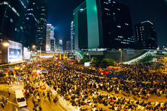 Umbrella Revolution in Hong Kong 2014. HONG KONG, OCT 2: Crowd of protesters occupy the road in Admiralty on 2 October 2014. Hong Kong people are fighting for a Stock Photo