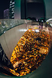 Umbrella Revolution in Hong Kong 2014. HONG KONG, OCT 10: Crowd of protesters occupy the road in Admiralty on 10 October 2014. Hong Kong people are fighting for Stock Images