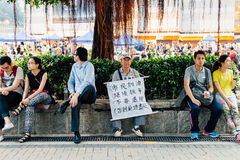 Umbrella Revolution in Hong Kong 2014. HONG KONG, OCT 4: Crowd of protesters occupy the road in Admiralty on 4 October 2014. Hong Kong people are fighting for a Stock Images