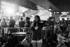 Umbrella Revolution in Hong Kong 2014. HONG KONG, OCT 3: Crowd of protesters occupy the road in Admiralty on 3 October 2014. Hong Kong people are fighting for a Royalty Free Stock Photos