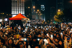 Umbrella Revolution in Hong Kong 2014. HONG KONG, OCT 4: Crowd of protesters occupy the road in Admiralty on 4 October 2014. Hong Kong people are fighting for a Stock Image
