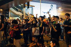 Umbrella Revolution in Hong Kong 2014. HONG KONG, OCT 4: Crowd of protesters occupy the road in Admiralty on 4 October 2014. Hong Kong people are fighting for a Stock Photos