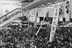 Umbrella Revolution in Hong Kong 2014. HONG KONG, OCT 4: Crowd of protesters occupy the road in Admiralty on 4 October 2014. Hong Kong people are fighting for a Royalty Free Stock Image