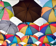 Colorful umbrella roof shade Stock Images