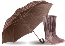 Umbrella and rubber boots Royalty Free Stock Image