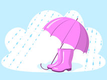 Umbrella and rubber boots Royalty Free Stock Photos