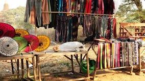 Umbrella for sale in Bagan complex, Myanmar stock video footage