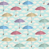 Umbrella seamless pattern. Cloudy sky tiling pattern. Rainy weat Royalty Free Stock Photos