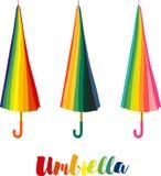 Umbrella, Set colorful closed umbrellas with colored lettering Stock Photo