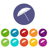 Umbrella set icons Stock Images