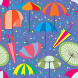 Umbrella Set Rain Seamless Pattern. Illustration umbrella set rain yellow flower seamless pattern Royalty Free Stock Image
