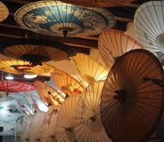Umbrella shop with retro styles in Beijing China. Colourful royalty free stock image