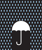 Umbrella Silhouette Downpour Stock Image