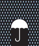 Umbrella Silhouette Downpour. Umbrella silhouette in rain downpour Stock Image