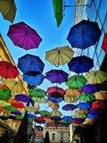 Umbrella sky. Umbrellas in the sky Stock Image