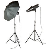 Umbrella and snoot for photographer Royalty Free Stock Photos