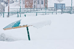 Umbrella and  the snowing. At Goldora Gulmarg, Kashmir, India Stock Image