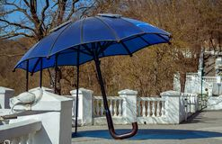 Umbrella with solar panels for charging gadgets. Kamianets Podil Royalty Free Stock Photography