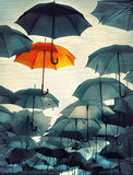 Umbrella standing from the crowd vintage effect photo Stock Images