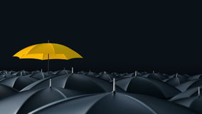 Umbrella standing out from crowd mass concept. Yellow umbrella open and standing out from crowd mass black umbrellas, design background text concept stock video