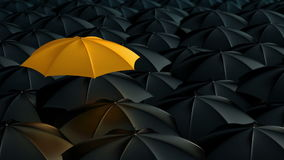 Umbrella standing out from crowd mass concept. Yellow umbrella open and standing out from crowd mass black umbrellas, design background text concept, high point stock video