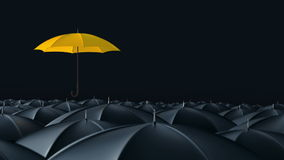Umbrella standing out from crowd mass concept. Yellow umbrella open and standing out from crowd mass black umbrellas, design background text concept, up point stock footage