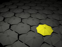 Umbrella Standing Out From The Crowd Stock Photo