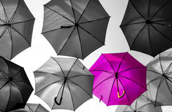 Umbrella standing out from the crowd unique Royalty Free Stock Images