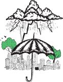 Umbrella and storm doodle Royalty Free Stock Photos