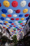 Umbrella Street. In antalya summer travel nice street cafes restaurants Stock Image