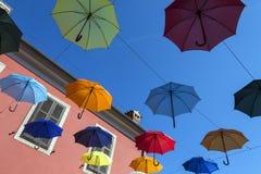 Umbrella Street - Novigrad - Croatia Royalty Free Stock Image