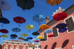 Umbrella Street - Novigrad - Croatia Royalty Free Stock Photography