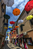 Umbrella Street - Novigrad - Croatia Stock Photos