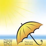 Umbrella and sun. Umbrella on the sunny beach Royalty Free Stock Image