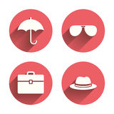 Umbrella, sunglasses and hat with case Royalty Free Stock Image