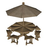 Umbrella table - 3D render Royalty Free Stock Images
