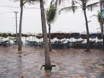 Umbrella and table set for rent. Royalty Free Stock Images