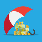 Umbrella to protect money Royalty Free Stock Image