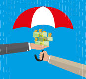 Umbrella to protect money. Money protection, financial savings concpet. vector illustration in flat style on blue background Royalty Free Stock Photo