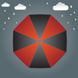 Umbrella on the top and rain background  Royalty Free Stock Photos