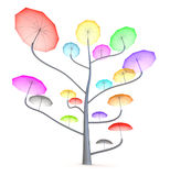 Umbrella tree. 3D colorful concept Stock Photos