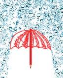 Umbrella Under Rain Stock Photography