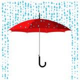 Umbrella under rain Stock Images
