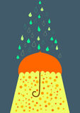 Umbrella under rain and sunlight greeting card Royalty Free Stock Photos