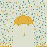 Umbrella under rain. Vector illustration with umbrella under rain and leaf. Hand drawn Stock Images