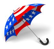 Umbrella with US national flag. Colorful umbrella with US national flag isolated on white background royalty free illustration