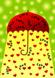 Umbrella valentines day card royalty free stock images